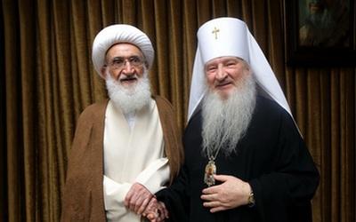 دیدار صمیمی اسقف اعظم کلیسای ارتدکس روسیه با آیتالله نوری همدانی