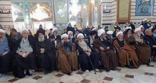 تصاویر مراجع و علما در مراسم وداع و تشییع پیکر سردار مقاومت در قم